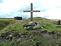 Memorial cross and air shaft on Pule Hill - geograph.org.uk - 1472012.jpg