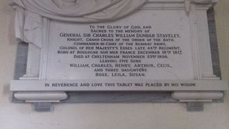 Charles Staveley - Memorial plaque at Capel Le Fern, Kent.