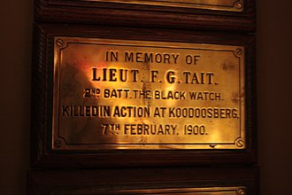 Frederick Guthrie Tait - Memorial plaque to Frederick Guthrie Tait, Black Watch Museum, Perth