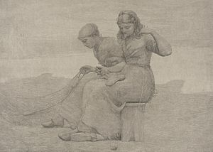 Tearing - Mending the Tears, print by Winslow Homer (1888), Los Angeles County Museum of Art.