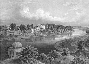 Mežotne Palace - 19th century view of Mežotne estate and Lielupe river