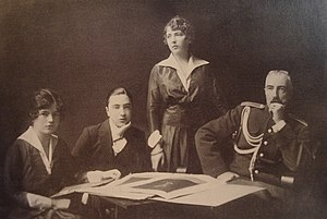 Sophie of Merenberg - Grand Duke Michael Mikailovich of Russia (right) with his children (from left to right), Nadejda, Michael and Anastasia de Torby