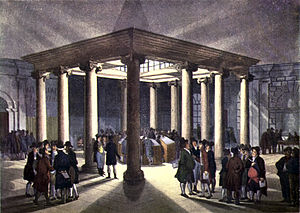Coal Exchange (London) - Interior of the 1805 London Coal Exchange. C.1808