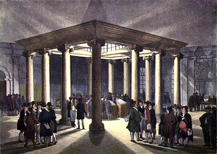 Interior of the London Coal Exchange, c. 1808.