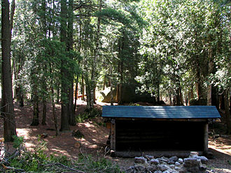 Harrietstown, New York - A lean-to at a campsite on Middle Saranac Lake