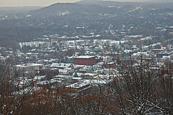 View of downtown Millburn in winter, from South Mountain Reservation