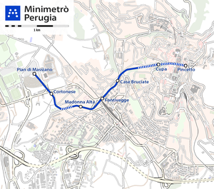 MiniMetro - Map of the Minimetrò Perugia