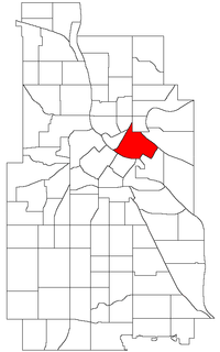 Location of Marcy-Holmes within the U.S. city of Minneapolis