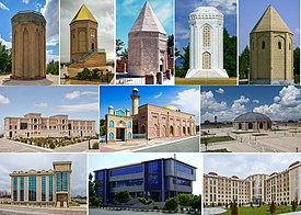 Nakhchivan montage. Clicking on an image in the picture causes the browser to load the appropriate article.