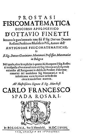 Geminiano Montanari - Prostasi fisicomatematica, 1669