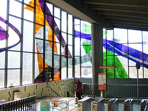 Marcelle Ferron - Stained-glass window by Marcelle Ferron, at Champ-de-Mars metro station in Montreal