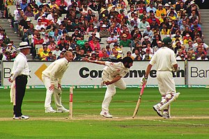 Panesar bowls in The Ashes series as Flintoff ...