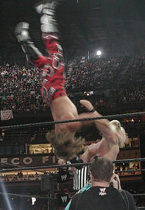 Moonsault - Shawn Michaels performing a moonsault on Chris Jericho at WrestleMania XIX.