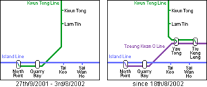 Tseung Kwan O Line - Realignment of Kwun Tong Line upon the inauguration of Tseung Kwan O Line.