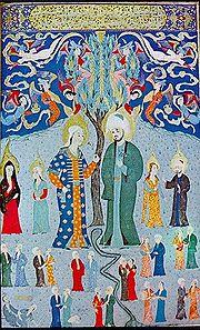 Représentation de Mahomet portant une tunique verte, ainsi qu'un turban où on distingue du vert.