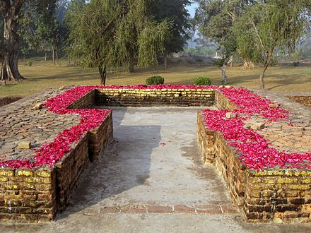 Mulagandhakuti, Remains of Buddha's hut in Jetavana Monastery, Shravasti, India, Where the Buddha delivered majority of his discourses Mulagandhakuti.jpg