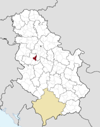 Location of the municipality of Lajkovac within Serbia