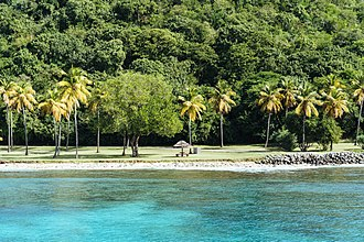 Mustique - Beach on the western side of the island.