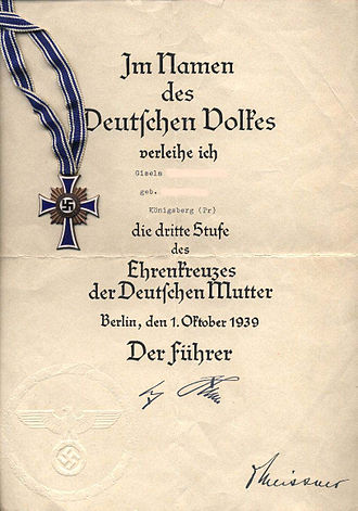 History of German women - Certificate of the Cross of Honour of the German Mother during World War II