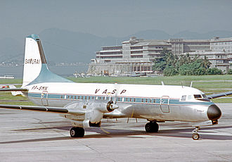 VASP - VASP operated the NAMC YS-11 from 1969. This example is arriving at Rio Santos Dumont Airport in 1972