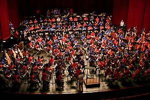 National Youth Orchestra of China - The National Youth Orchestra of China (in red) rehearsing alongside the National Youth Orchestra of the United States of America (in blue) at Purchase College on July 16, 2017.