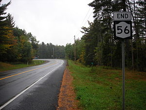New York State Route 56 - NY 56 southbound at NY 3, the southern terminus, in Sevey Corners