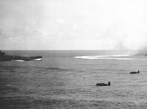 Type 91 torpedo - Nakajima B5N2s making a torpedo attack at Santa Cruz on October 26, 1942