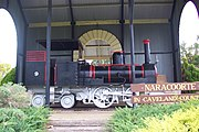 A historic locomotive in a park in Naracoorte
