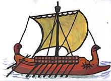 Dessin sur feuille blanche montrant un bateau avec des rames et une grande voile carrée.