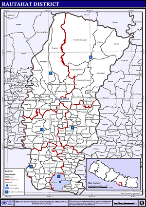 Rautahat District - Map of the VDCs and Municipalities (blue) in Rautahat District