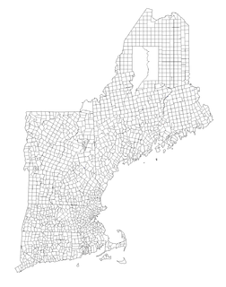 Basic unit of local government in each of the six New England federated states of the United States