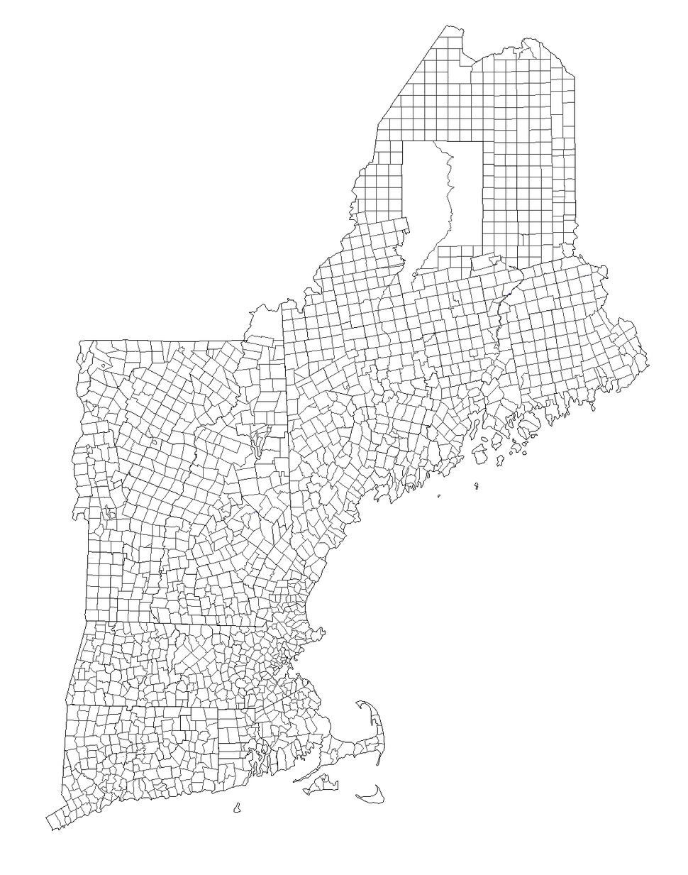 New England Town Lines and Borders in the Six New England States