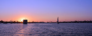 Newport Bay (California) - Image: Newport Harbor Sunset Photo D Ramey Logan