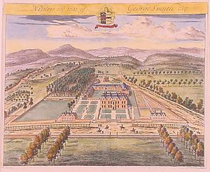North Nibley - Nibley, the Seat of George Smyth, Esq.,  by Jan Kip, 1709