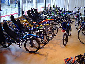 Local bike shop - View of recumbent bicycles inside a local bike shop.