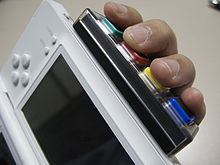 An accessory with four buttons connected to the bottom of an opened gaming handheld. A person's hand runs alongside the handhelds' back with fingers placed on the buttons.