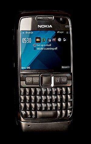 Nokia E71 against black background