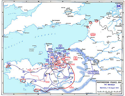 Map showing the break-out from the Normandy beachhead and the formation of the Falaise Pocket, August 1944. Normandybreakout.jpg