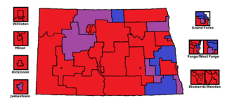 The North Dakota State House by district (as of 2016). Red is 2 Republicans, blue is 2 Democrats/NPL, and purple is one of each North Dakota State House Partisan Map.png