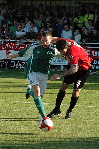 North Ferriby United A.F.C. - Russell Fry playing for North Ferriby United against F.C. United of Manchester in the 2009–10 FA Cup
