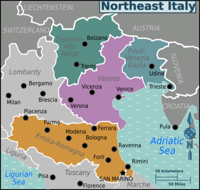 Map of Northeast Italy