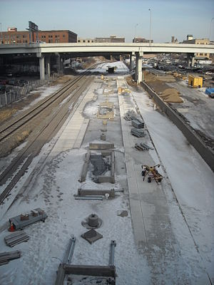Northstar Line - The platforms at Target Field under construction in 2009.