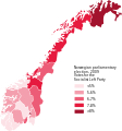 Norwegian parliamentary election 2009 map SV votes.svg