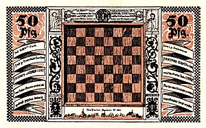 Ströbeck - One of Ströbeck's notgeld currency notes featuring a chessboard, 1921