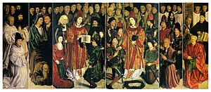 Saint Vincent Panels - Saint Vincent Panels. From left to right: Panel of the Friars, Panel of the Fishermen, Panel of the Prince, Panel of the Archbishop, Panel of the Knights, and Panel of the Relic