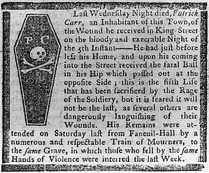 Boston Gazette - Obituary of Patrick Carr, Boston Massacre victim. Boston Gazette, 19 March 1770. Engraving by Paul Revere.