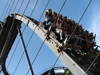Oblivion (roller coaster) - A picture of Oblivion's drop, taken from the guest observation area.
