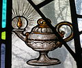 Ohio Dominican University (Columbus, Ohio) - Christ the King Chapel in Sansbury Hall, stained glass, lamp.jpg