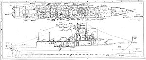 """Oliver Hazard Perry-class frigate - Outboard profile of the """"long-hull"""" design."""