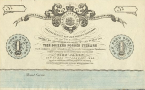 Griqualand East - One Sterling Pound banknote of Nieuw Griqualand, 1868